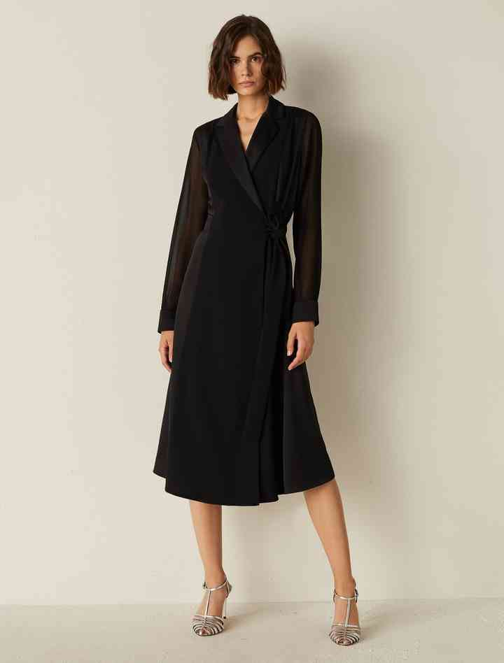 vestido corto de noche manga larga y corte recto midi