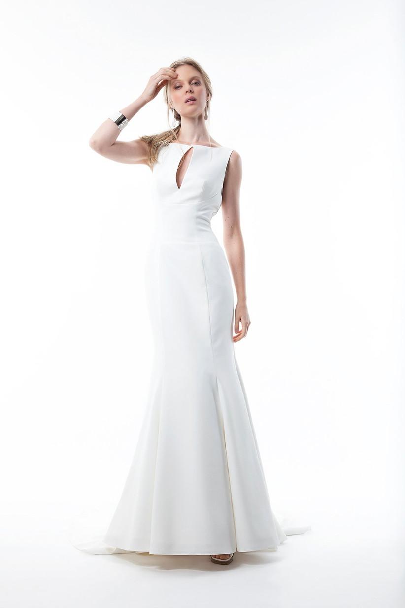 vestido novia escote barco ojal