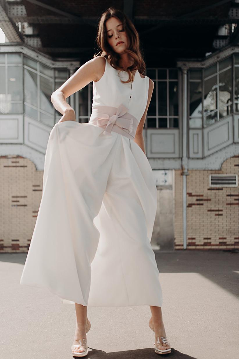 pantalon palazzo para novia con bolsillos