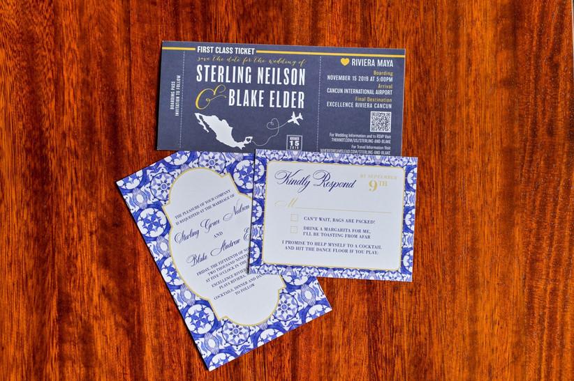 Invitaciones de boda azul temática viajera