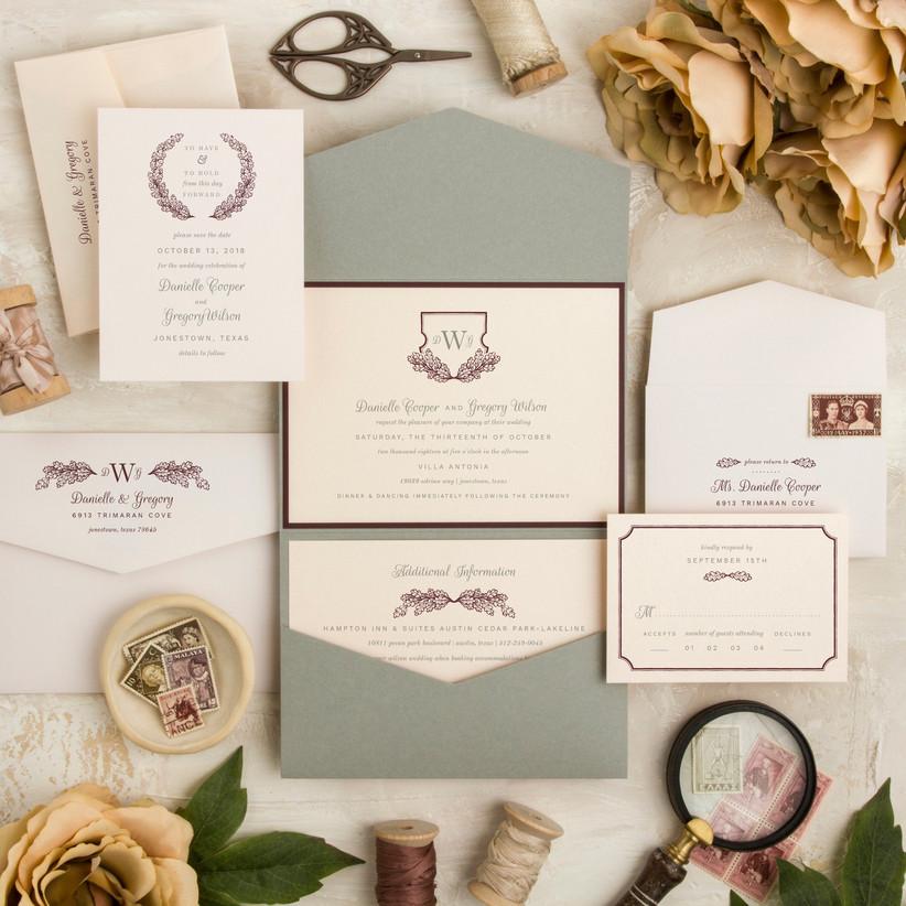 invitación de boda formal con holograma