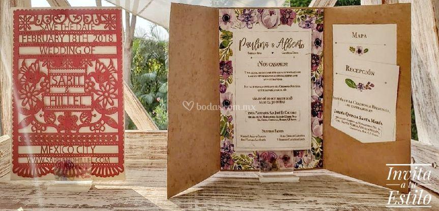 Diseños florales y papel picad