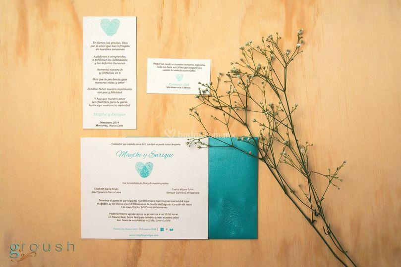 Invitación fingerprints heart