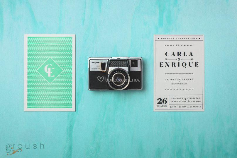 Invitación tipo postal vintage