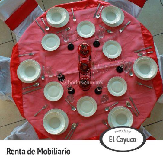 Mesa en rojo
