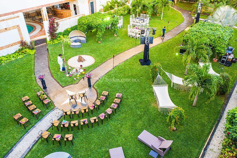 Jardín con vista de dron