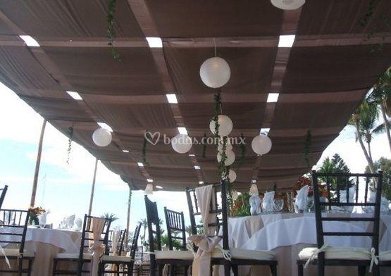 Montaje de tela para terraza