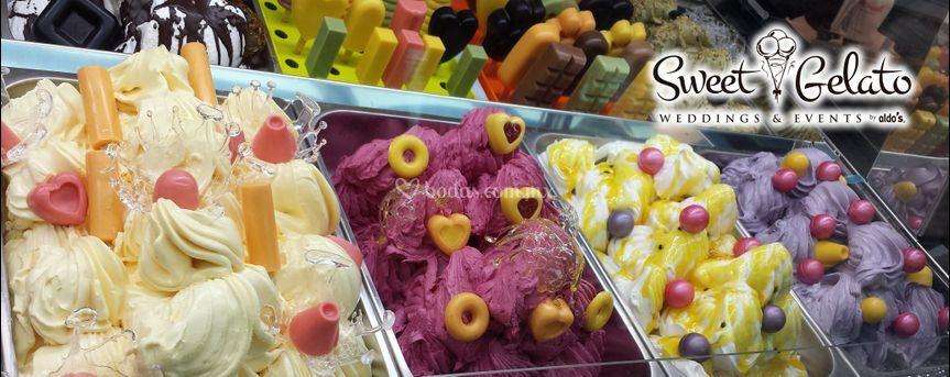 Vitrina con gelatos