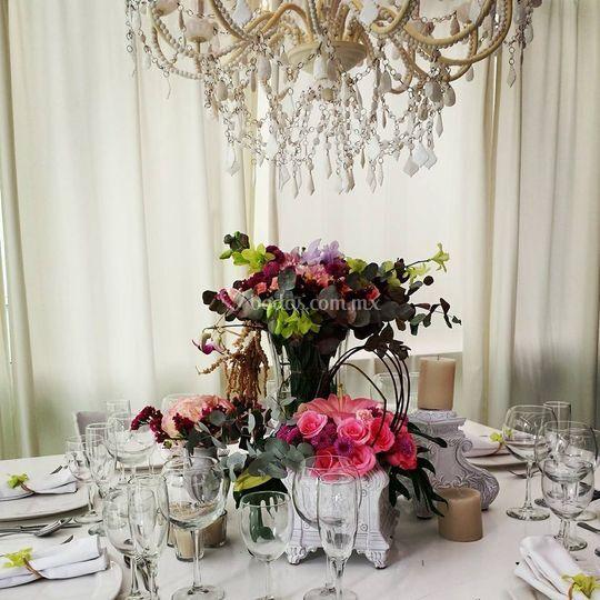 Centro de mesa vintage elegante