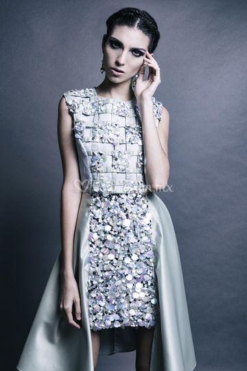 Vestido bordado cristales