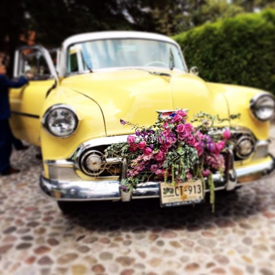 Decorado coche novia