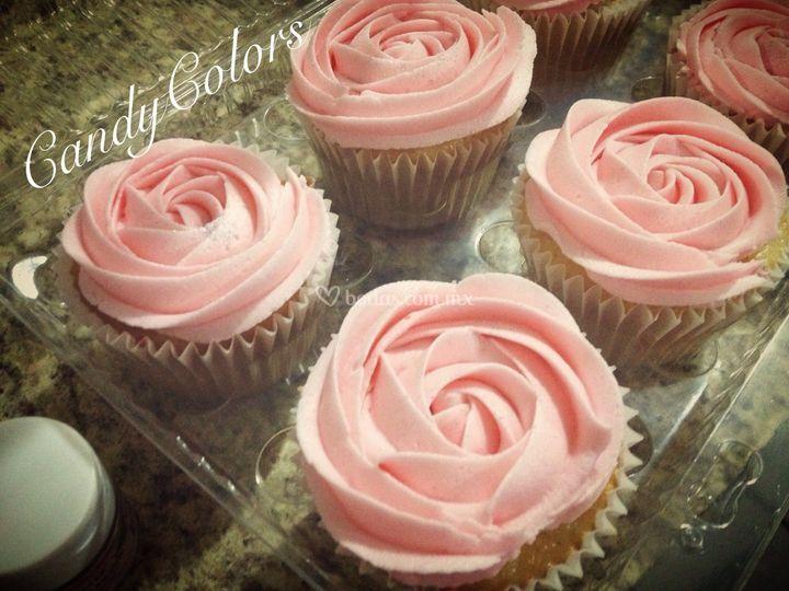 Cupcakes forma de rosa