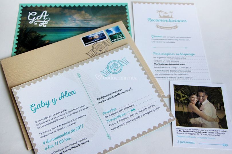 Invitación de boda tipo postal