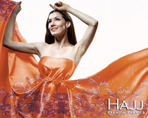 Vestido con tela naranja1