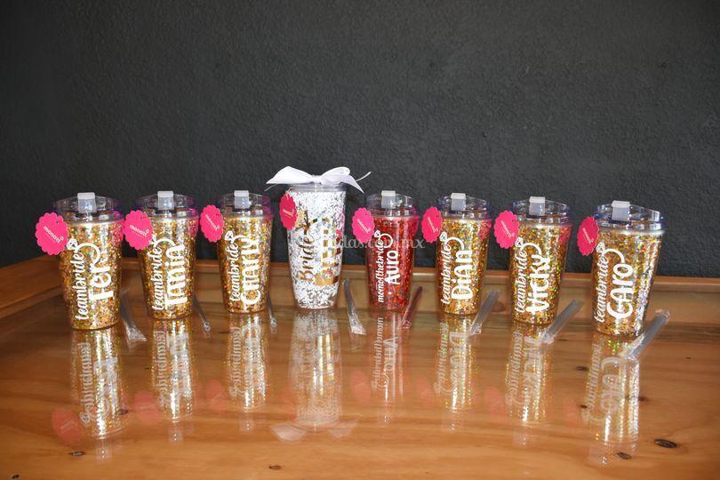 Vasos glitter Anti derrame