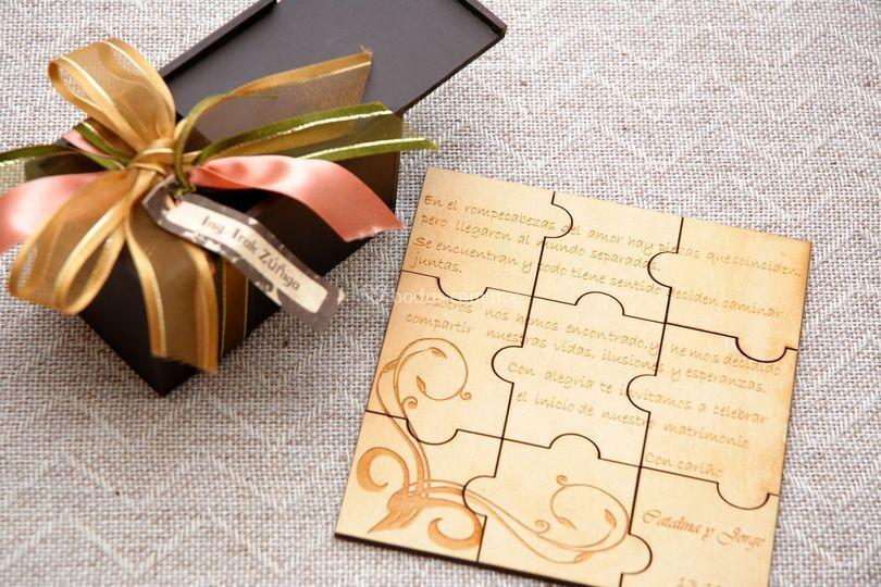 Invitación rompecabezas boda