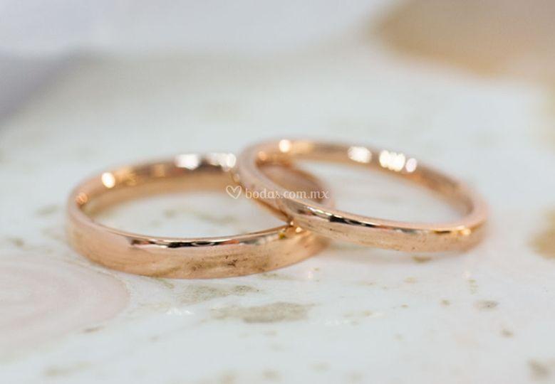 Argollas oro rosa 3mm y 4mm