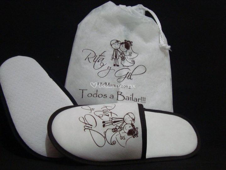 Pantuflas con bolsa