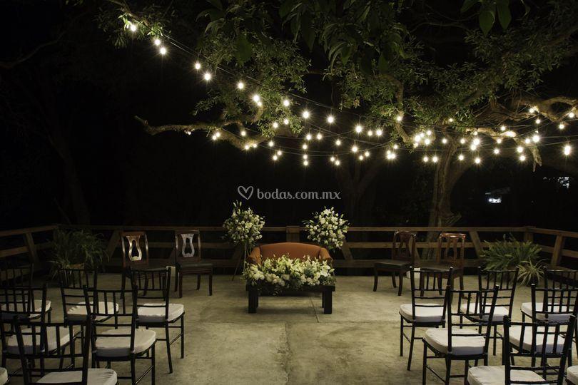 Foto de noche civil en terraza