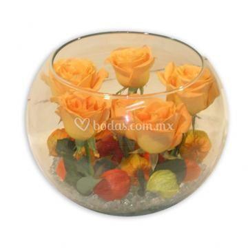 Pecera de rosas