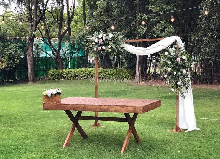 Mesa para boda civil