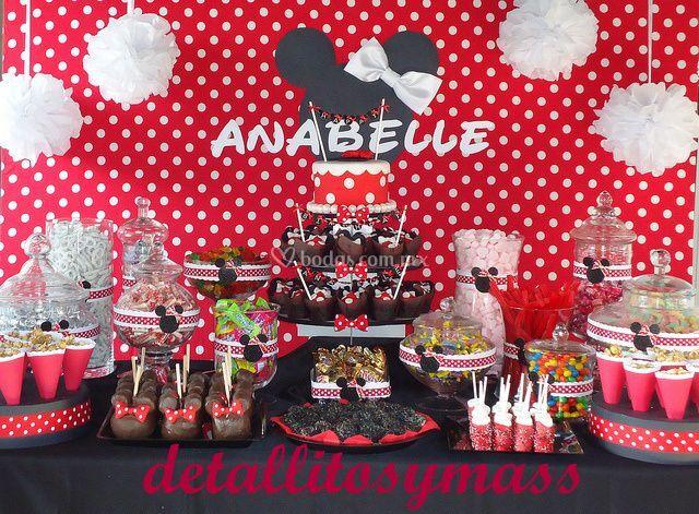 Mesa de dulces fiesta minnie