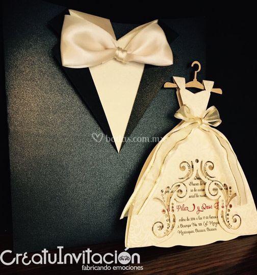 Invitación traje y vestido