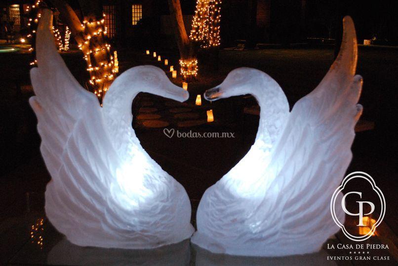 Cisnes escultura de hielo