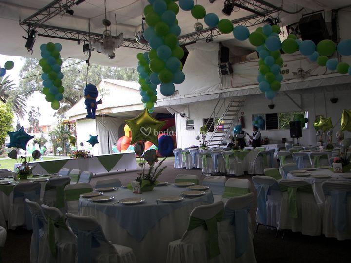 Manteleria Color Verde y Azul