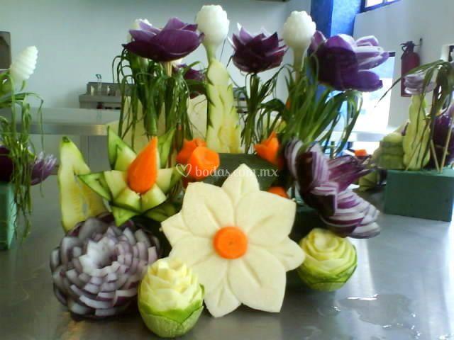 Flores con verdura