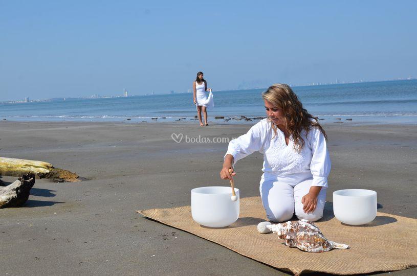 Novia en la playa