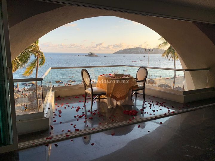 Cena romántica en terraza