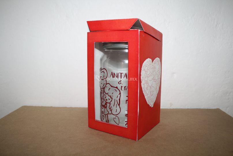 Invitación frasco con caja