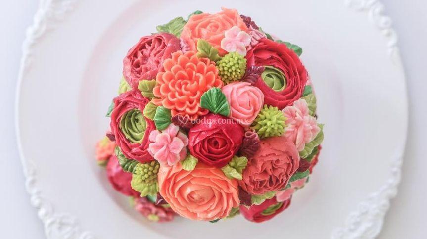 Pastel flores de betún