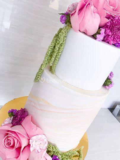Pastel mármol y flores