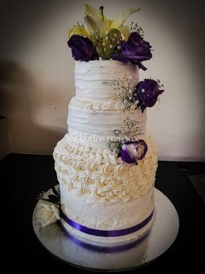Pastel cuatro pisos boda