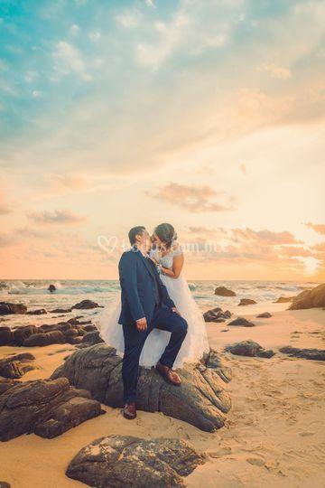 Beso en la playa