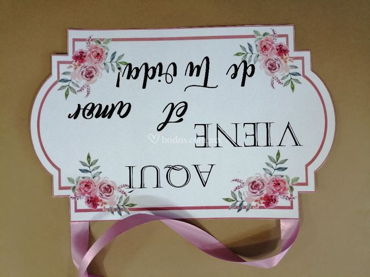 Letrero para paje