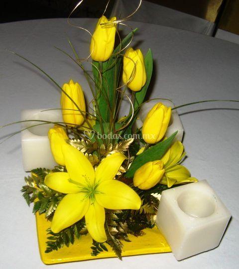 Centro de mesa  tulipan