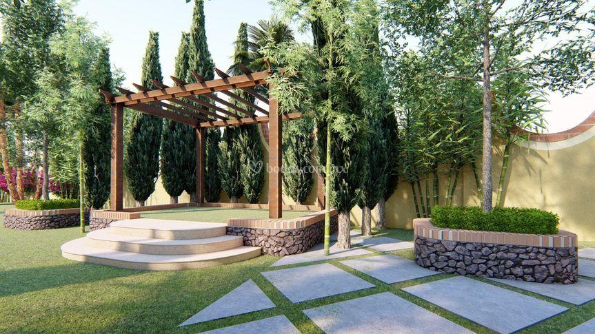 Jardín con altar