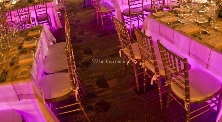 Montaje sillas Tiffany dorado