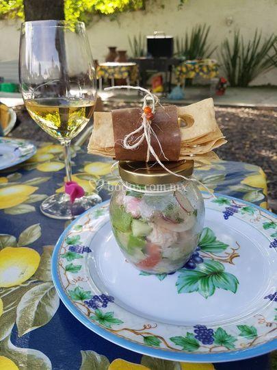 Ceviche de mariscos en frasco