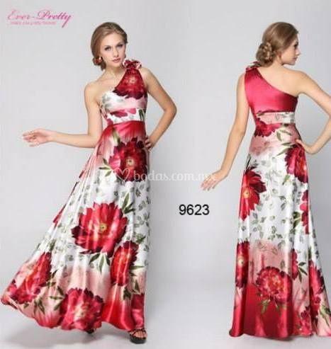 Vestido largo estampado rojo