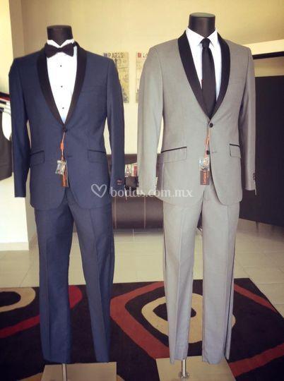 Smoking moda azul y gris claro