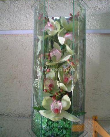 Orquídeas con perlas de cristal