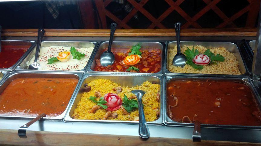 Buffet de comida mexicana