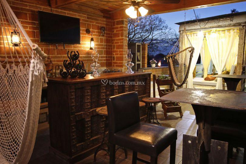 Roof-garden con bar&tumbados