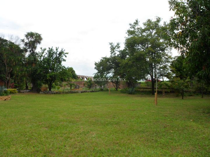 Jardín y acueducto