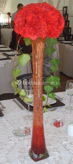 Centros de mesa en flor roja
