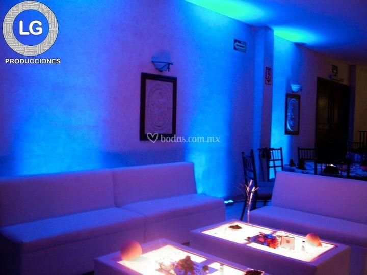 Salas lounge e iluminación